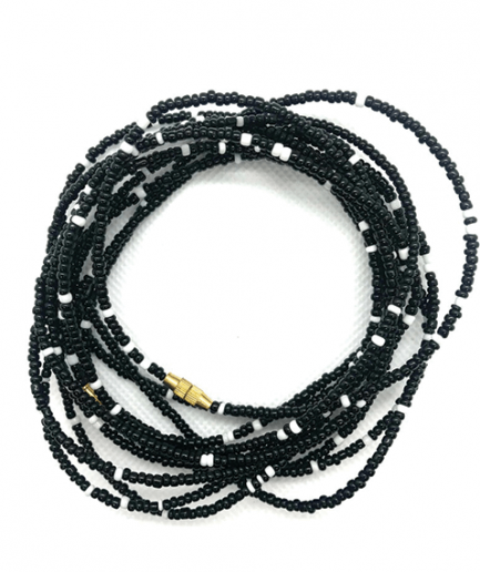 black white waistbeads