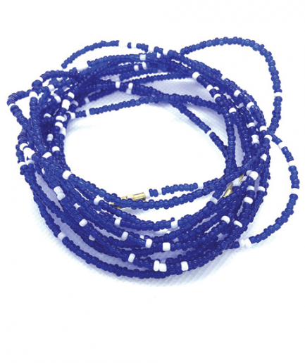 blue white waistbeads