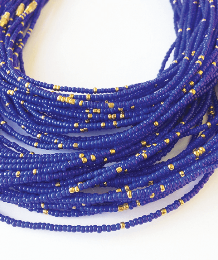deep blue gold waistbeads